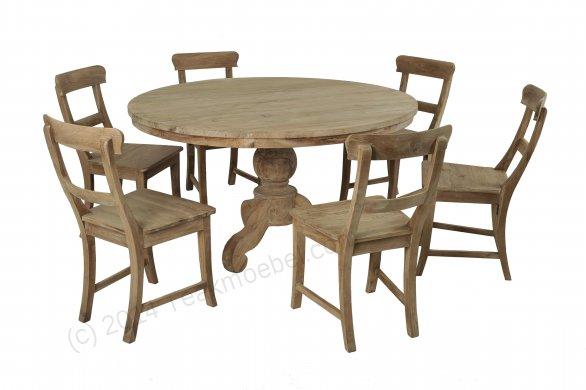 Teak Tisch rund 140 + 6 Stühle - Bild 0