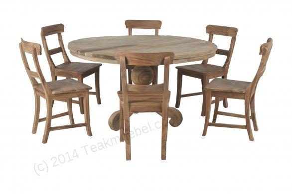 Teak Tisch rund Dingklik 140 + 6 Stühle - Bild 0
