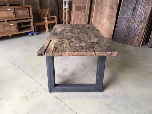 Teak Erosie Waggontisch 200x100 + Stahl - Bild 3