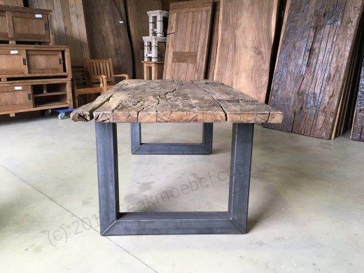 Teak Erosie Waggontisch 200x100 + Stahl - Bild 0