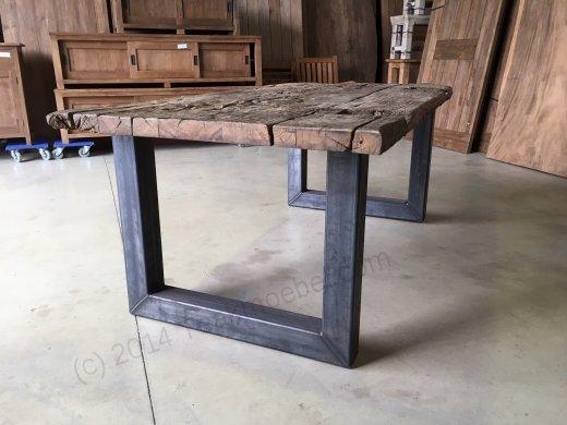 Teak Erosie Waggontisch 200x100 + Stahl - Bild 5