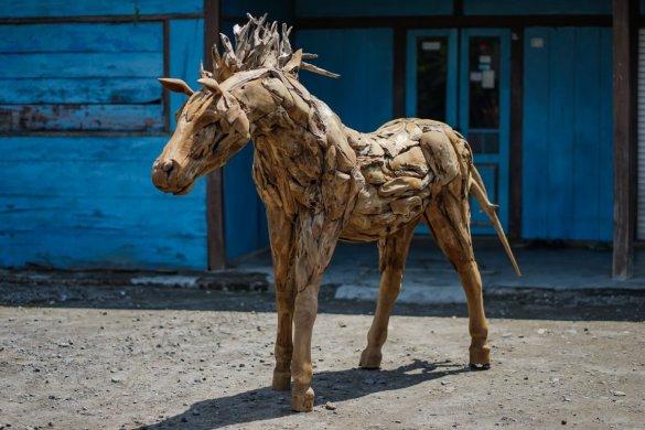 Teakholz Pferd XL - Bild 0
