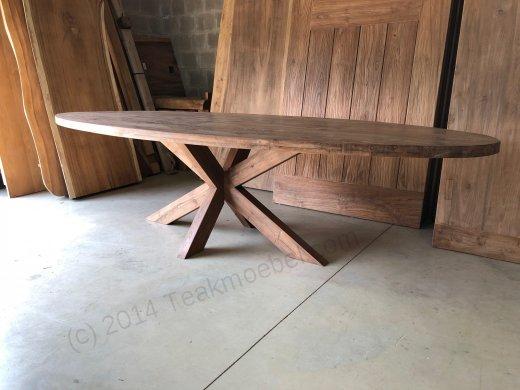 Teak Tisch oval 300x120cm Cross - Bild 0