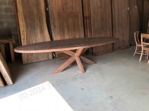 Teak Tisch oval 300x120cm Cross - Bild 2