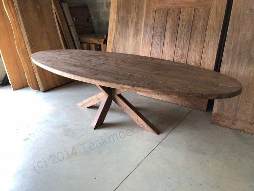 Teak Tisch oval 300x120cm Cross - Bild 5