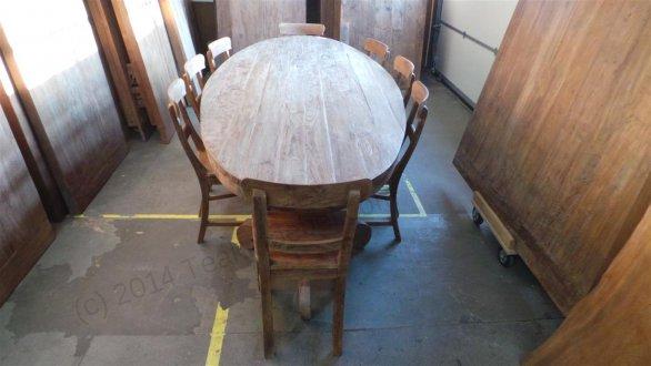Teak Tisch oval 300x120cm + 8 Stühle - Bild 1