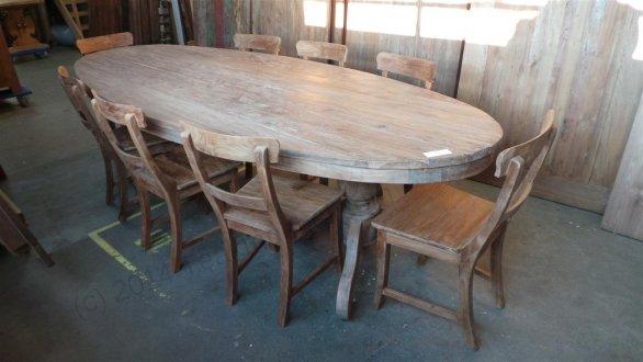 Teak Tisch oval 300x120cm + 8 Stühle - Bild 2