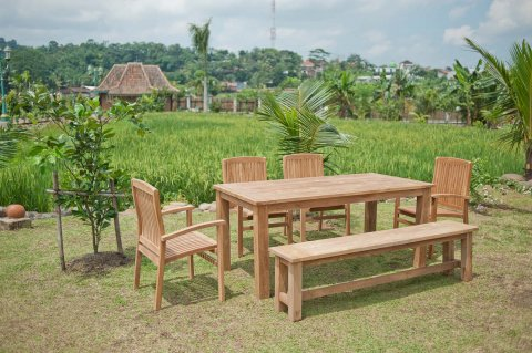 Gartentisch 180x90cm mit 4 Stapelstühle und Bank