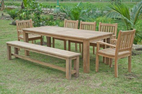 Gartentisch 240x100cm mit 5 Beaufort Stühle und Bank