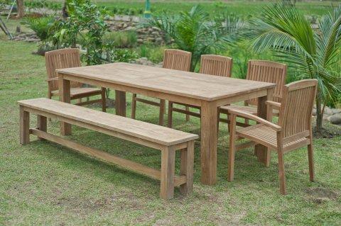 Gartentisch 240x100cm mit 5 Stapelstühle und Bank