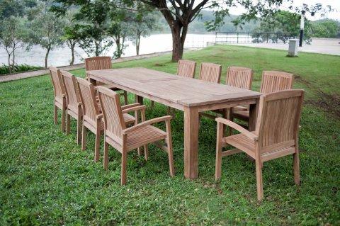 Gartentisch 300cm mit 10 Stapelstühle