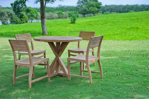 runder teak gartentisch 100cm teakm. Black Bedroom Furniture Sets. Home Design Ideas