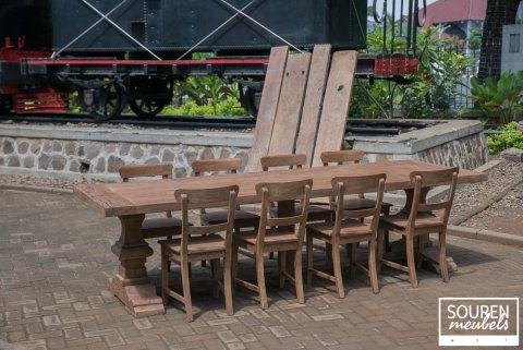 Teak Klostertisch 300x100cm + 8 Stühle