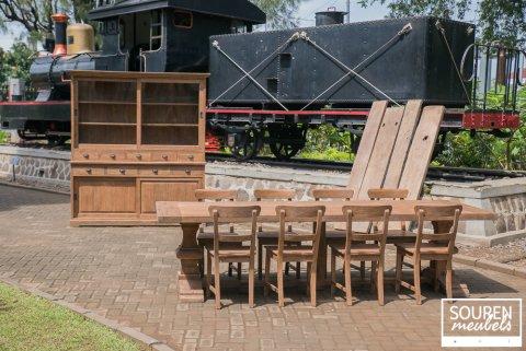Teak Klostertisch 300x100 + 8 Stühle + Schrank 200