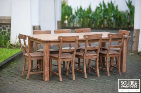 Teak Tisch Dingklik 200x100 + 8 Stühle