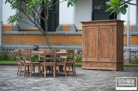 Teak Tisch rund Dingklik 160 + 8 Stühle + Schrank XL