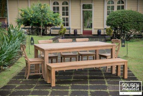 Teak Tisch 200x100 + 5 Stühle Kreuz + Bank 200