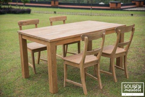 Teak Tisch 160x90 + 4 Stühle