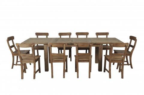 Teak Esstisch Ausziehbar 160-210-260x90 + 10 Stühle