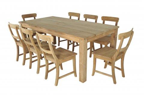 Teak Tisch 200x100cm + 8 Stühle