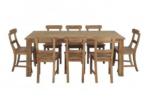 Teak Tisch gebürstet 200 x 100 + 8 Stühle