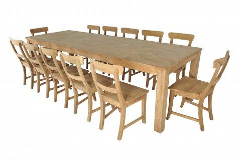 Teak Tisch 300x100cm + 12 Stühle