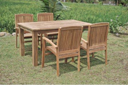 Gartentisch 160x90cm mit 4 Stapelstühle
