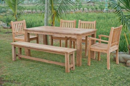 Gartentisch 180x90cm mit 4 Beaufort Stühle und Bank