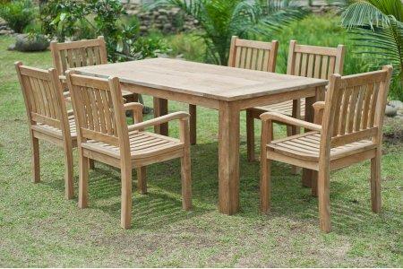 Gartentisch 180x90cm mit 6 Beaufort Stühle