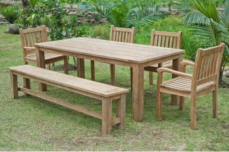 Gartentisch 220x100cm mit 4 Beaufort Stühle und Bank