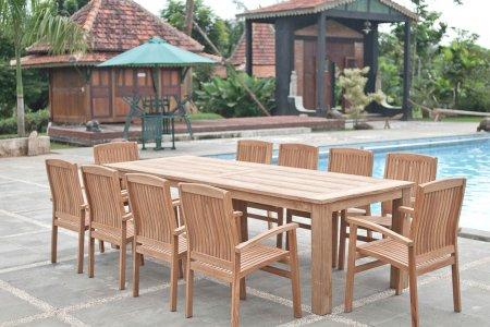 Gartentisch 280x100cm mit 10 Stapelstühle