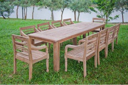 Gartentisch 300cm mit 10 Bahnhof Stühle