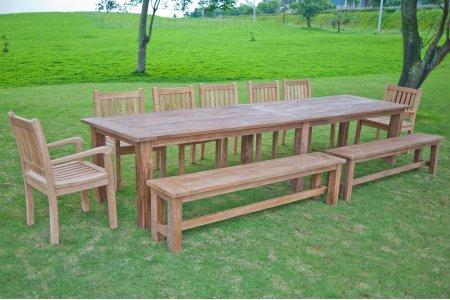 Gartentisch 400cm mit 7 Beaufort und 2 Bänke