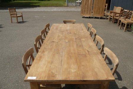 Teak Tisch mit Schubladen 260 x 100 cm