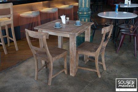 Teak Tisch Dingklik 80x80 + 2 Stühle
