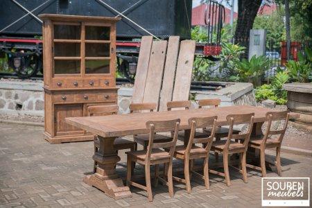 Teak Klostertisch 300x100 + 8 Stühle + Schrank 130