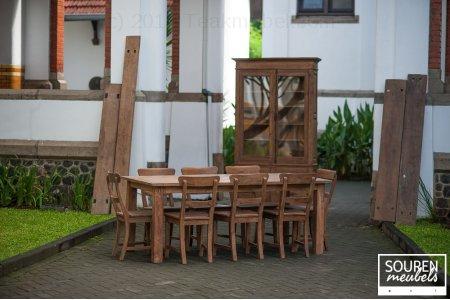 Teak Tisch Dingklik 200x100 + 8 Stühle + Schrank 2T