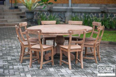 Teak Tisch rund Dingklik 160 + 8 Stühle
