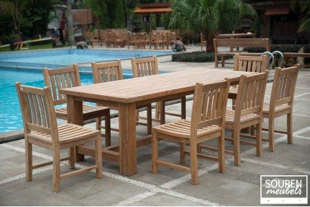 Gartentisch Mammut 250 + 8 Beaufort Stühle ohne Armlehne