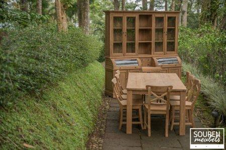 Teak Tisch 200x100 + 8 Stühle Kreuz + Schrank 210