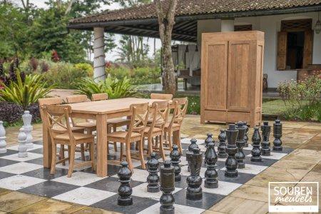 Teak Tisch 200x100 + 8 Stühle Kreuz + Schrank 130