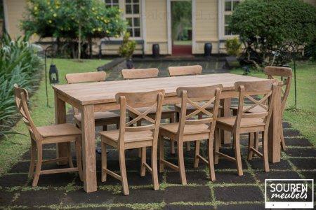Teak Tisch 200x100 + 8 Stühle Kreuz