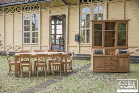 Teak Tisch 200x100 + 8 Stühle Kreuz + Schrank 160