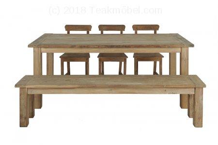 Teak Tisch Dingklik 200x100 + 3 Stühle + Bank