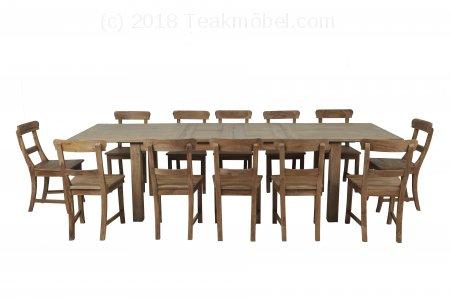 Teak Esstisch Ausziehbar 200-250-300x100 + 12 Stühle