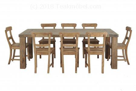 Teak Klostertisch straight legs 200 x 100 + 8 Stühle