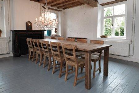 Teak Tisch Dingklik 300x100cm + 10 Stühle