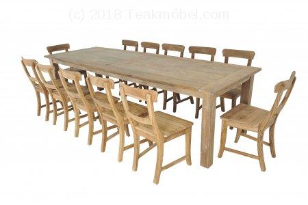 Teak Tisch Dingklik 300x100cm + 12 Stühle
