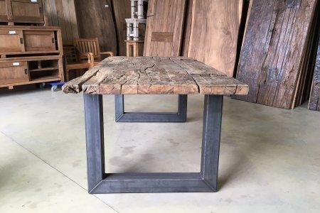 Teak Erosie Waggontisch 200x100 + Stahl