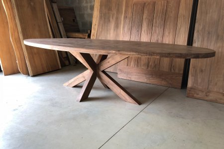Teak Tisch oval 300x120cm Cross